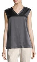 Brunello Cucinelli Silk-Blend V-Neck Shell, Charcoal