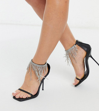 Public Desire Wide Fit Redemption heeled sandals with diamante fringe in black