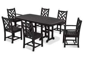 Polywood Chippendale 7-Piece Dining Set Color: Black