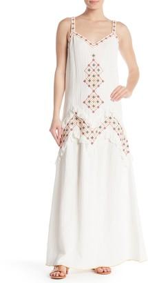 Max Studio Embroidered V-Neck Sleeveless Maxi Dress