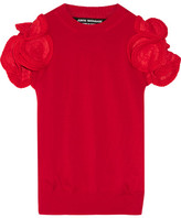 Junya Watanabe Ruffled Crochet-trimmed Wool-blend Sweater - Red