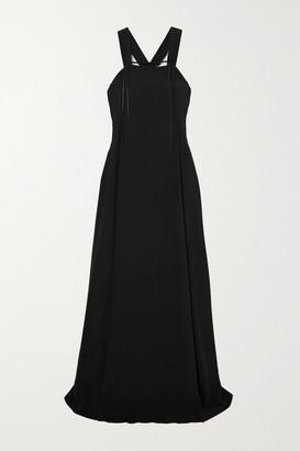 Victoria Beckham Satin-trimmed Silk-crepe Maxi Dress - Black