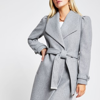 River Island Womens Petite Grey puff sleeve belted robe coat