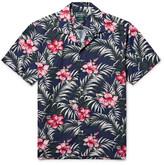 Gitman Brothers Camp-collar Floral-print Cotton-blend Shirt - Storm blue