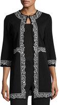 Ming Wang Embroidered-Trim Knit Jacket, Black/White