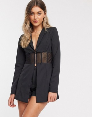 In The Style x Saffron Barker structured corset detail blazer co ord in black