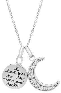 7c7cb87978a8e Crystal & 925 Sterling Silver I Love You To The Moon & Back Pendant Necklace