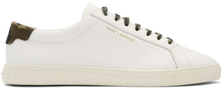 Saint Laurent White and Camo Andy Sneakers