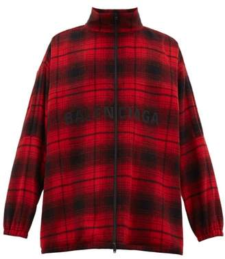 Balenciaga Logo Embroidered Tartan Wool Blend Flannel Jacket - Mens - Red