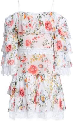 Alice + Olivia Cold-shoulder Floral-print Silk-voile Mini Dress