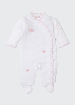 Kissy Kissy Rosebud Embroidered Footie Playsuit w/ Ruffles, Size Newborn-9 Months