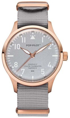 Pop Pilot Pop-Pilot Unisex BCN Quartz Watch with Grey Dial Analogue Display and Grey Nylon Strap