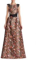 Monique Lhuillier Bright Floral Embroidered Gown