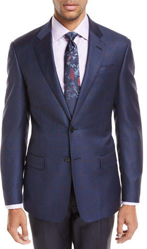 Giorgio Armani Windowpane Plaid Wool Jacket