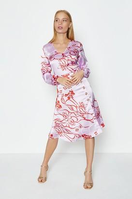 Coast Satin Floral Print Midi Dress With Button DetaiL