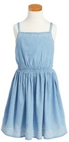 Calvin Klein Girl's Embroidered Chambray Dress