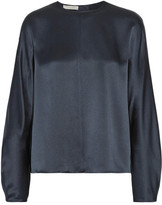 Vince Silk-satin Blouse - Midnight blue