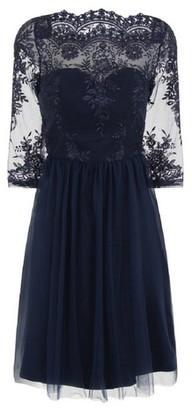 Dorothy Perkins Womens Chi Chi London Navy Embroidered Midi Dress