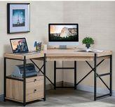Turnkey Emery 2-Piece Corner Desk with Pedestal in Light Brown