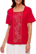 Alfred Dunner Short Sleeve Square Neck T-Shirt-Womens