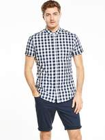 Very Short Sleeve Gingham Shirt