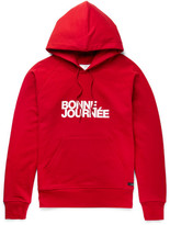 Ami Printed Loopback Cotton-jersey Hoodie - Red