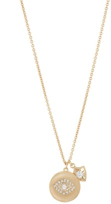 Nadri Gold Plated CZ Evil Eye Disc Pendant Necklace