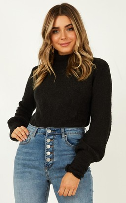 Showpo Dreaming of Warmth Knit jumper in black - 6 (XS) Oversized
