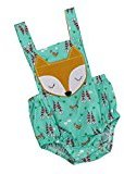 AMA(TM) Newborn Infant Baby Boys Girls Denim Fox Print Backless Sleeveless Romper Jumpsuit Onesies Clothes (6M, Green)