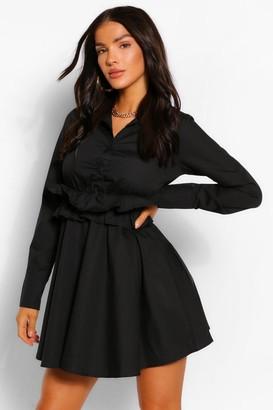 boohoo Cotton Ruffle Waist Long Sleeve Shirt Skater Dress