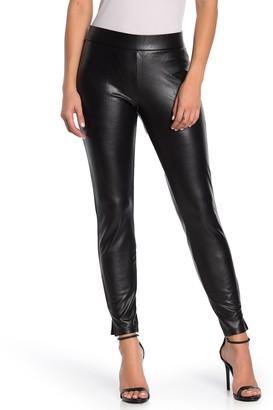 Hue Faux Leather Side Slit Leggings