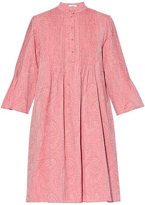 Erdem Bell-Sleeve Pintuck Paisley Dress