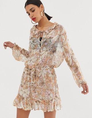 For Love & Lemons Mauritza sheer floral bell sleeve dress