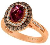 LeVian Raspberry Rhodolite and Chocolate Diamond; Ring in 14 Kt. Strawberry Gold;, 0.6 ct. t.w.