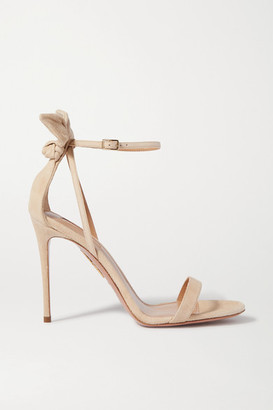 Aquazzura Bow Tie 105 Suede Sandals - Neutral