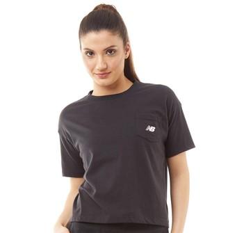 New Balance Womens Classic Logo Oversized Cropped T-Shirt Black