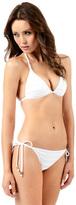 Voda Swim White Envy Push Up Pleated String Bikini Top