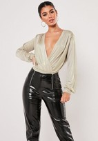 Missguided Champagne Shimmer Wrap Over Bodysuit