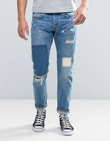 Edwin ED-55 Regular Tapered Jean Pulled Wash Rainbow Selvage Rip and Repair
