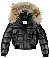 SAM. Girls' Fur-Trimmed Down Bomber Jacket