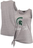 Unbranded Michigan State Spartans Women's Tied and True Side Tie Tri-Blend Tank Top - Heathered Gray