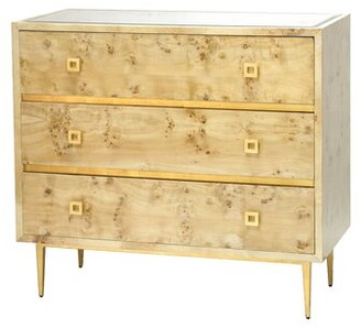 Worlds Away 3 Drawer Accent Chest Color: Burl Wood