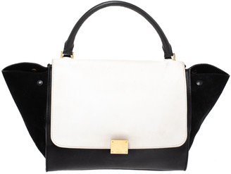 Celine Black/White Leather and Suede Medium Trapeze Bag
