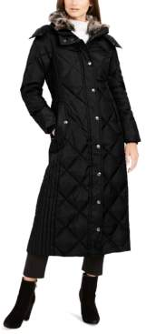 London Fog Maxi Puffer Coat With Faux-Fur Trim