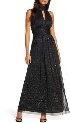 Eliza J Glitter Detail Halter Neck Evening Gown