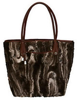 As Is B. Makowsky Faux Fur Satchel with Leather Trim