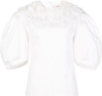 Carolina Herrera Floral Appliques Puff Sleeve Blouse