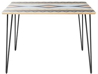 """Wrought Studioâ""""¢ Camargo Dining Table Wrought Studioa Table Top Color: Natural, Table Base Color: Black"""
