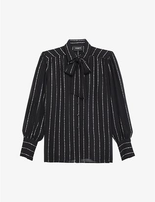 The Kooples Bow-detail semi-sheer woven shirt