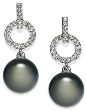 Eliot Danori Silver-Tone Pave & Imitation Pearl Drop Earrings, Created For Macy's